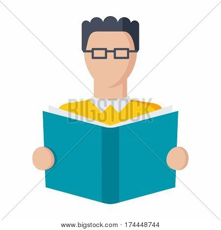 Student and book, vector illustraton in flat style on white background