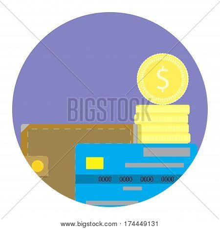 Money vector icon. Electronic capital and golden coin illustration