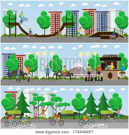 Vector means of transport concept posters, banners set. Young people riding modern street vehicles, bicycles and performing stunts in the park, flat style design elements.