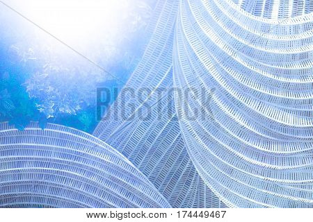 Rattan handicraft with leave decorate abstract blue and softy color for background. poster