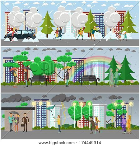 Vector set of rainy, windy, snowy weather concept posters, banners. People having a lot of fun in blizzard, walking in the rain and running away from storm, flat style design elements.