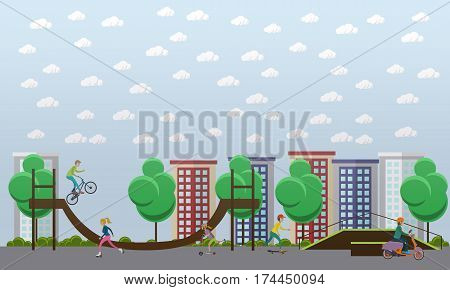 Skate park concept vector illustration. Young people roller skating, riding skateboard, kick scooter, motor scooter, bmx bike and performing stunts. Flat style design elements.