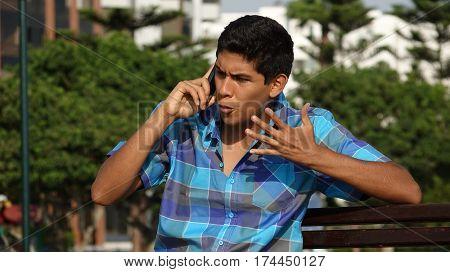 Angry Teen Boy Phone Call or Mobile Call