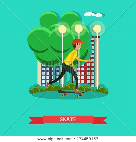 Vector illustration of a boy skateboarder riding skateboard. Skateboarding concept design element in flat style.