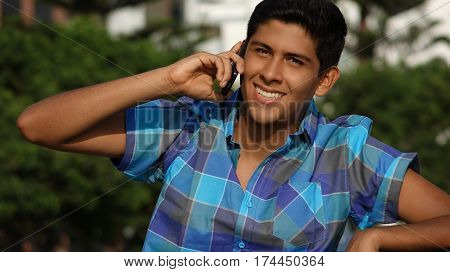 Teen Boy With Cell Phone or Mobile