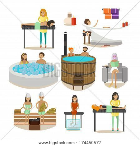 Vector set of Spa salon people enjoying various body treatment, steam baths and massages isolated on white background. Flat style design elements, icons.