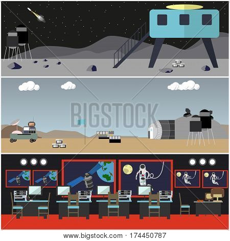 Vector set of space concept posters, banners. Mission control center, outer space, space bases on Mars and on the Moon, space technologies flat style design elements.