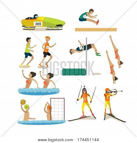 Vector set of sport people competing isolated on white background. Bobsleigh, long and high jumping, running, diving, synchronized swimming, water polo, biathlon design elements, icons in flat style.