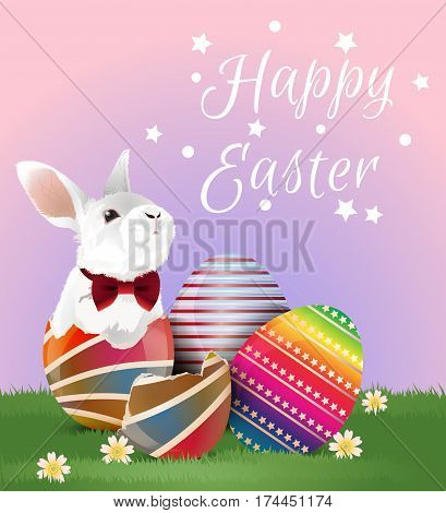 Little white bunny with red bow in easter egg shell and two easter eggs on green grassland with greeting word. Vector illustration.