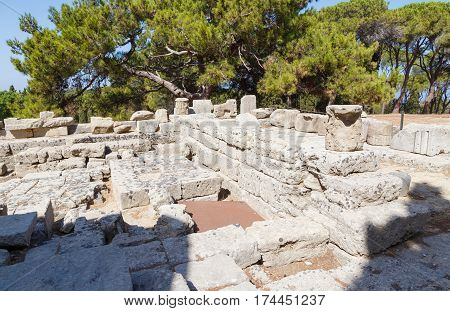 The ruins of Temple of Athena Polias at Filerimos Rhodes Greece Europe