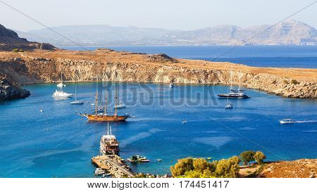 View of Lindos Bay. Lindos, Rhodes, Dodecanese Islands Greece Europe