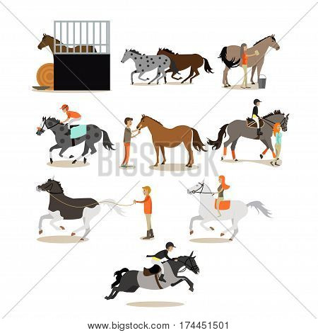 Vector set of horse riding people icons isolated on white background. Equestrian sport, riding and grooming horses, stable concept design elements in flat style.