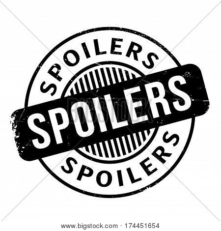 Spoilers rubber stamp. Grunge design with dust scratches. Effects can be easily removed for a clean, crisp look. Color is easily changed.