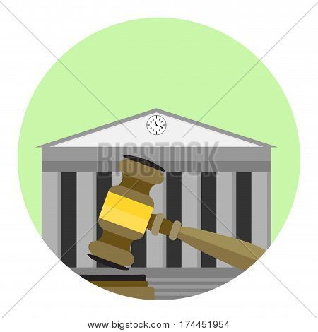 Court icon vector. Courthouse legitimate and gavel illustration