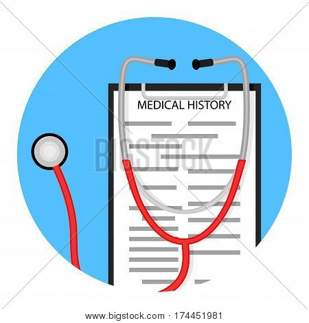 Medical diagnostics icon. Stethoscope and diagnose healthcare vector illustration