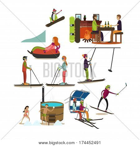 Vector set of people having a lot of fun in winter isolated on white background. Snowboarding, tubing, downhill and cross-country skiing, ski lift, japanese barrel hot tub, cafe flat style icons.