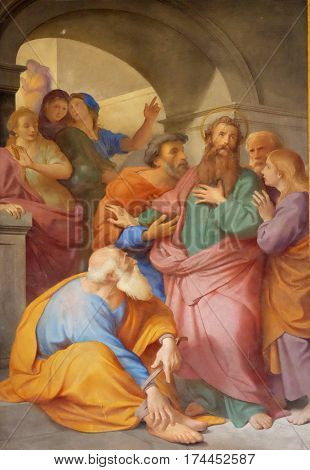 ROME, ITALY - SEPTEMBER 05: The fresco with the image of the life of St. Paul: Paul is Warned about the Jerusalem Mob, basilica of Saint Paul Outside the Walls, Rome, Italy on September 05, 2016.