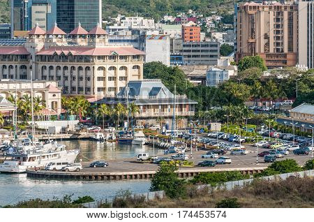 Port Louis Mauritius - December 12 2015: Port Louis cityscape Mauritius. Blue Penny museum in the center. This is the main attraction on Mauritius showing the Mauritian one-penny and two-pence stamps of 1847 and selection of antique map engravings.