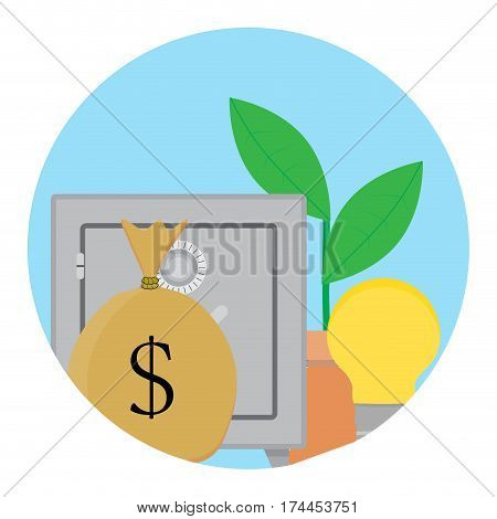 Successful capitalization funds icon. Profit growth on deposit box. Vector illustration