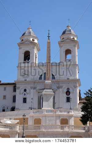 ROME, ITALY - SEPTEMBER 02: Trinita dei Monti Church, Piazza di Spagna in Rome, Italy on September 02, 2016.