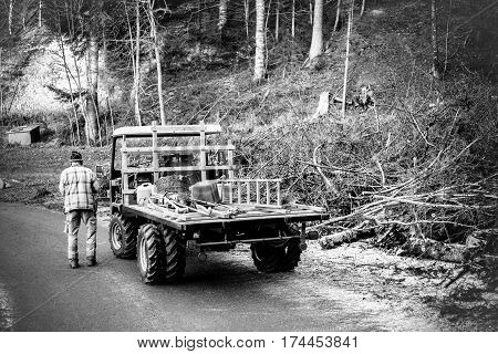 Old man carpenter cutting trees in wood forest - Woodworker next his van with tools objects for woodcutter - Black and white editing with soft vignette - Warm filter - Focus on him and truck