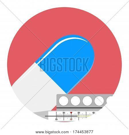 Antipyretics medication vector icon. Urgent medical aid illustration