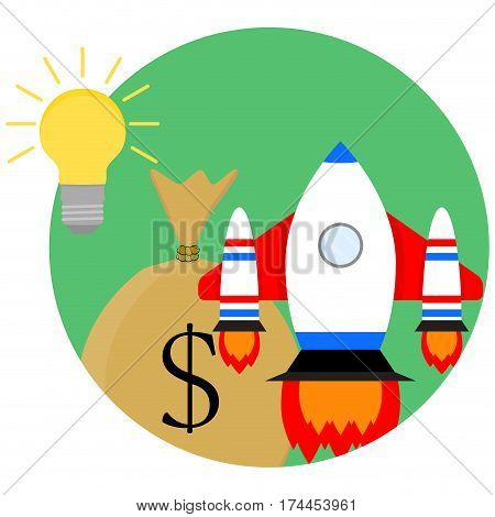 Idea of a business start-up. Development and strategy sack of money and spaceship start up. Vector illustration