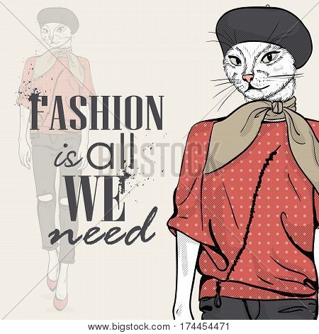 Vector elegant woman with cats head with beret and scarf color. Fashion is all we need
