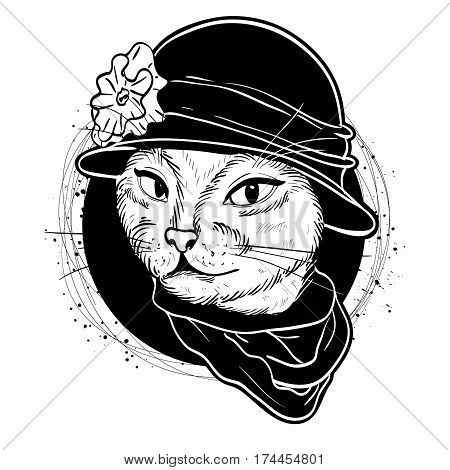 Vector color sketch of elegant cat woman face with hat and scarf