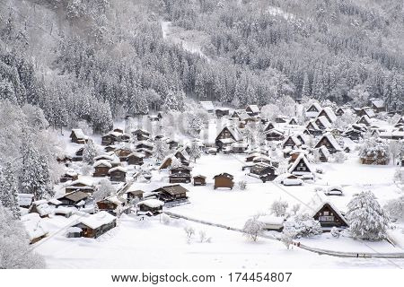 Historic Villages of Shirakawa-go and Gokayama Japan. Winter in Shirakawa-go Japan. Traditional style huts in Gassho-zukuri Village Shirakawago and Gokayama World Heritage Site.