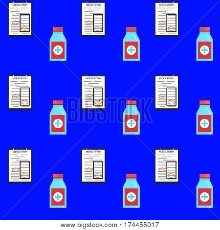 Hospital seamless pattern background. Science and treatment medication and therapy vector illustration