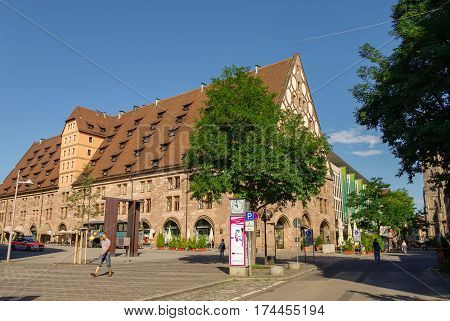 Nuremberg, Germany - August 22, 2010: View of the Mauthalle Building in the old town part of Nuremberg
