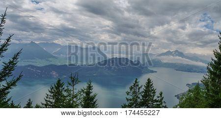 Panorama of Lake Lucerne on the from Mount Rigi Switzerland.