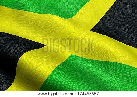 closeup of  waving jamaica flag, cross stripes, national symbol of jamaican sign