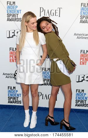 LOS ANGELES - FEB 25:  Riley Keough, Sasha Lane at the 32nd Annual Film Independent Spirit Awards at Beach on February 25, 2017 in Santa Monica, CA