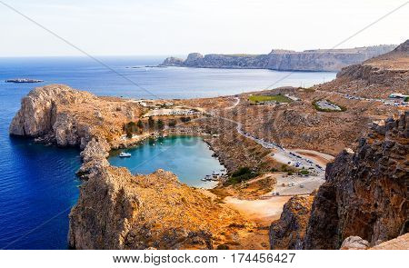 Aerial view on St. Paul's bay in Lindos