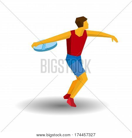 Athlete Throwing The Discus In The Form Of Tablet