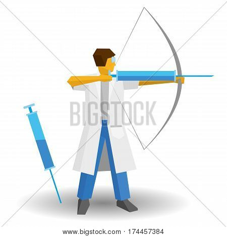 Doctor Shooting A Syringe Like An Archer
