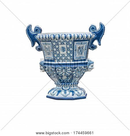 Delftware Garden Vase from the park Het Loo on a white background, The Netherlands