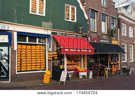 EDAM, NORTH HOLLAND / THE NETHERLANDS - JANUARY 16, 2017: Facade of Cheese and Wine Speciality Shop which sells the world famous Edam cheese and more