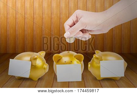 women hands putting coin into three gold piggy bank with a paper taped on Wooden floor.