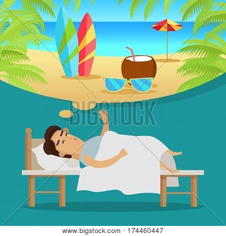 Man sleeping in his bed and dreaming about surfing, cocktails and vacation on the beach. Businessman tired from work wants to have a holiday. Dream holiday concept. Palms and sea. Vector illustration