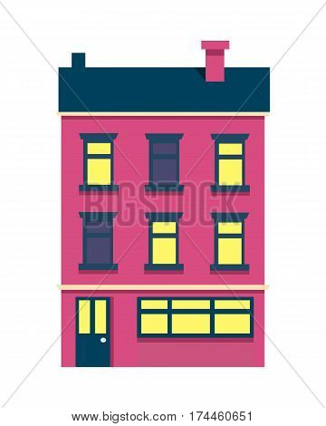 Vector illustration of isolated cartoon house with three floors on white background. Colourful building with dark roof and chimney on it and some yellow lighted windows. Architecture in city.