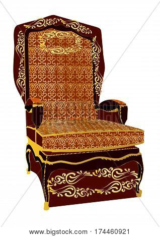 throne. antique chair isolated on white background