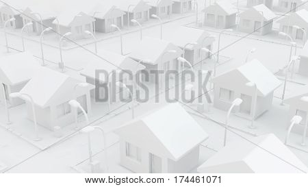 Small white house neighborhood area 3d illustration horizontal