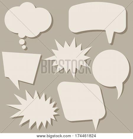 Set of speech bubbles without phrases on brown background. Vector illustration.