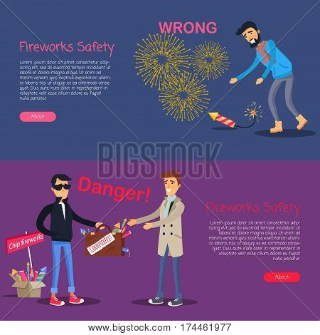 Fireworks safety. Danger deal and wrong usage of pyrotechnics web banner. Man leans to pick up burning firecracker. Man selling cheap and illegal counterfeit to trustful male person. Vector.