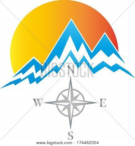 Mountains, sun and meadow, travel agency and nature logo, mountain