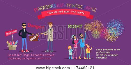 Fireworks safety infographic, how do not spoil the party. Man in black selling case with counterfeit and people watching at sky with salutes. Vector illustration of unfair deal and proper behavior