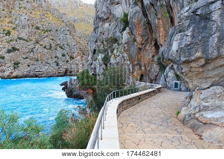 Footpath To Beach Torrent De Pareis And Mediterranean Sea, Majorca, Spain